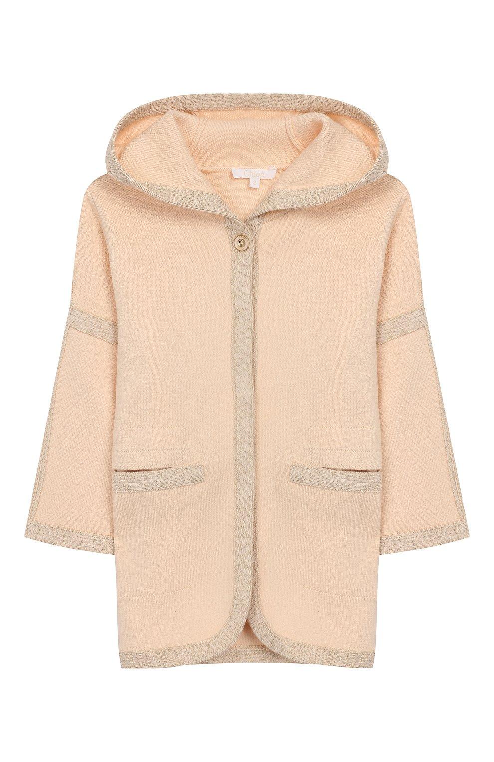 Детский куртка из хлопка и шерсти CHLOÉ розового цвета, арт. C06099   Фото 1