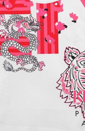 Детский хлопковый лонгслив KENZO белого цвета, арт. KP10078-BB | Фото 3