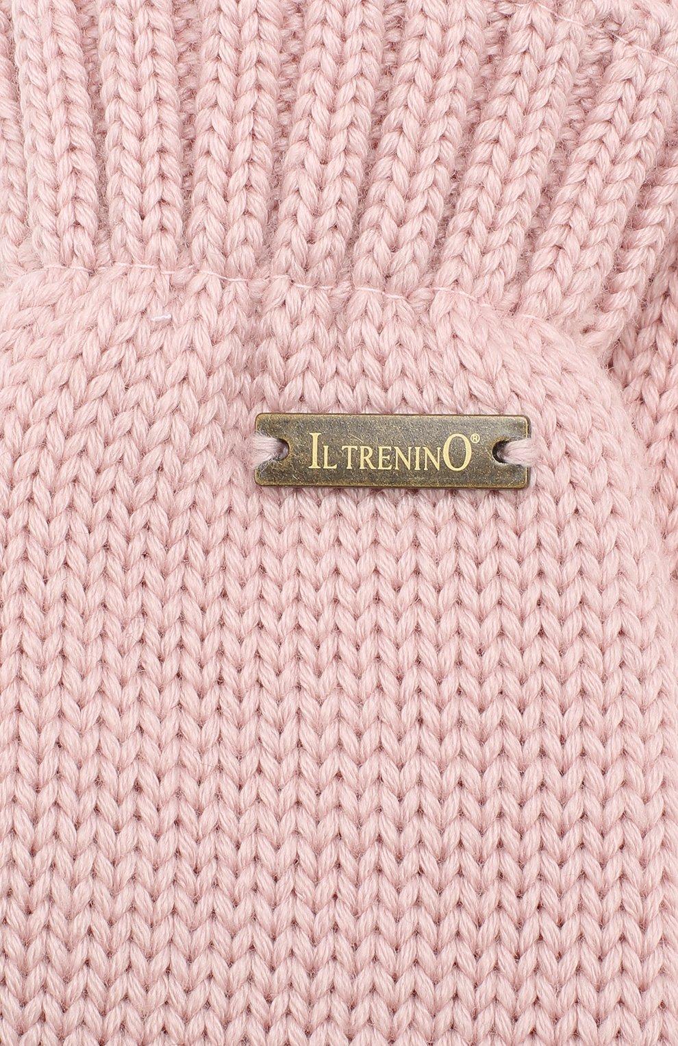 Детские шерстяные варежки IL TRENINO розового цвета, арт. 19 9664/E2 | Фото 3