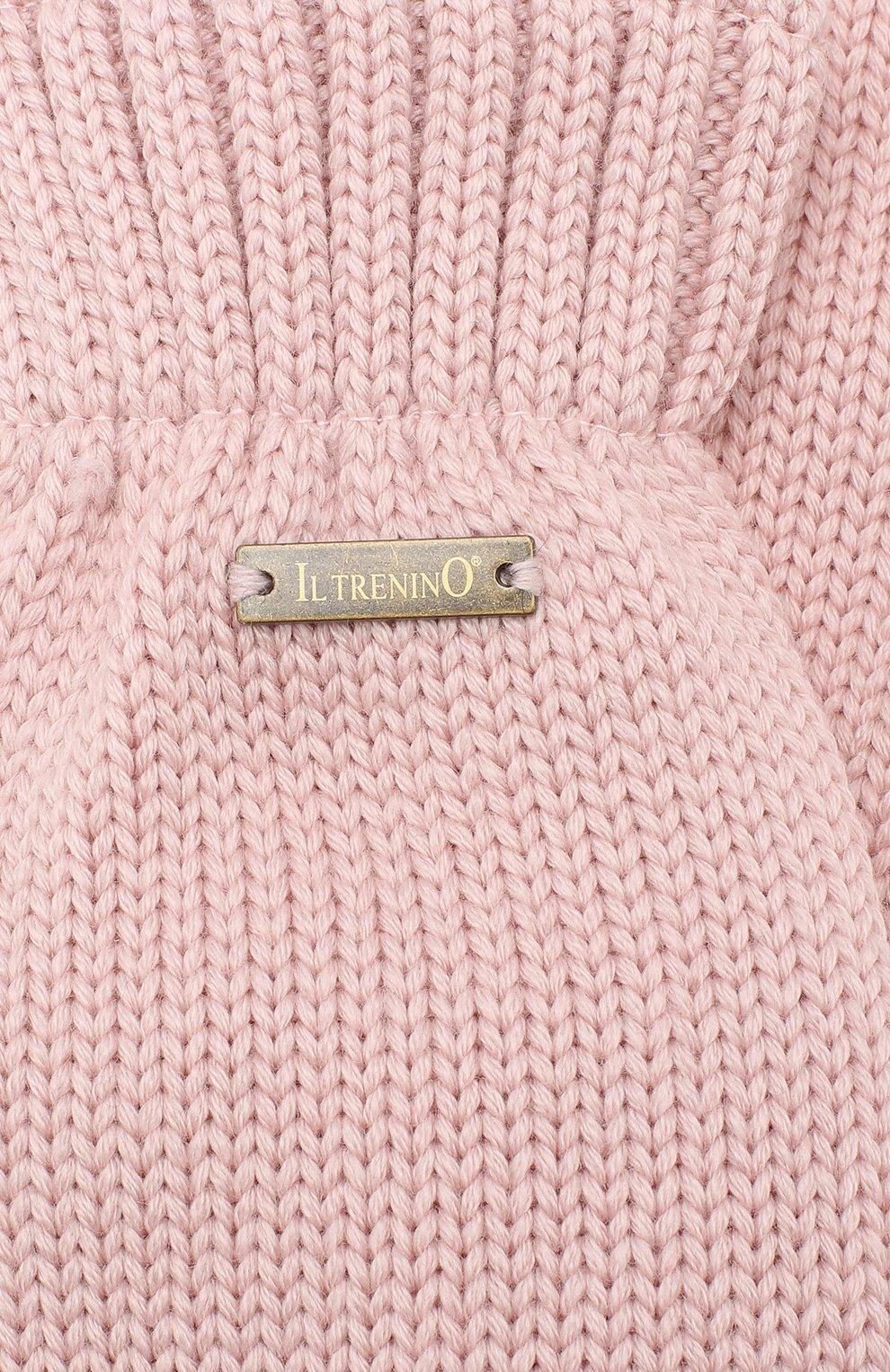 Детские шерстяные варежки IL TRENINO розового цвета, арт. 19 9664/E0   Фото 3