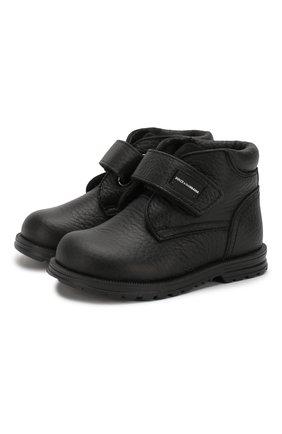 Детские кожаные ботинки с меховой отделкой DOLCE & GABBANA черного цвета, арт. DL0023/AU492/19-28 | Фото 1