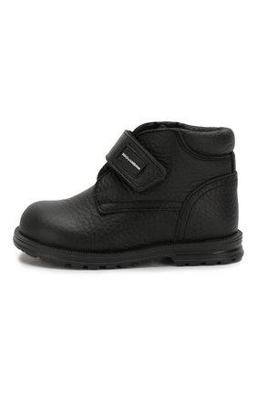 Детские кожаные ботинки с меховой отделкой DOLCE & GABBANA черного цвета, арт. DL0023/AU492/19-28 | Фото 2