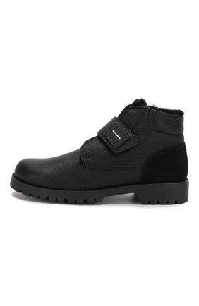Детские кожаные ботинки с меховой отделкой DOLCE & GABBANA черного цвета, арт. DA0221/AU492/37-39 | Фото 2