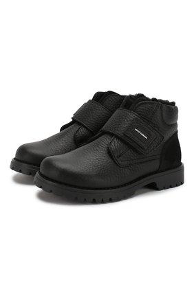Кожаные ботинки с меховой отделкой | Фото №1