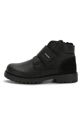 Детские кожаные ботинки с меховой отделкой DOLCE & GABBANA черного цвета, арт. DA0221/AU492/24-28 | Фото 2