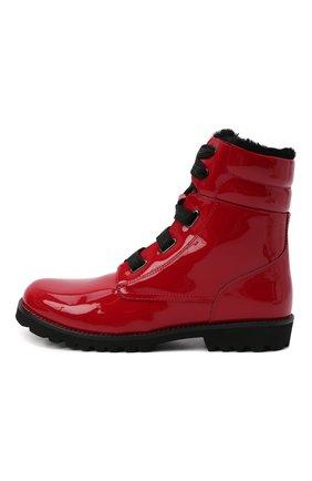 Детские кожаные ботинки с меховой отделкой DOLCE & GABBANA красного цвета, арт. D10849/AB543/37-39 | Фото 2