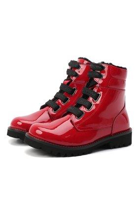 Детские кожаные ботинки с меховой отделкой DOLCE & GABBANA красного цвета, арт. D10849/AB543/29-36 | Фото 1 (Статус проверки: Проверена категория; Материал утеплителя: Натуральный мех)