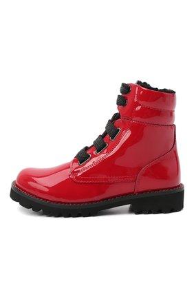 Детские кожаные ботинки с меховой отделкой DOLCE & GABBANA красного цвета, арт. D10849/AB543/29-36 | Фото 2 (Статус проверки: Проверена категория; Материал утеплителя: Натуральный мех)
