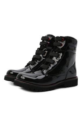 Детские кожаные ботинки с меховой отделкой DOLCE & GABBANA черного цвета, арт. D10849/AB543/29-36 | Фото 1
