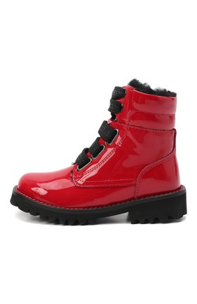 Детские кожаные ботинки с меховой отделкой DOLCE & GABBANA красного цвета, арт. D10849/AB543/24-28 | Фото 2
