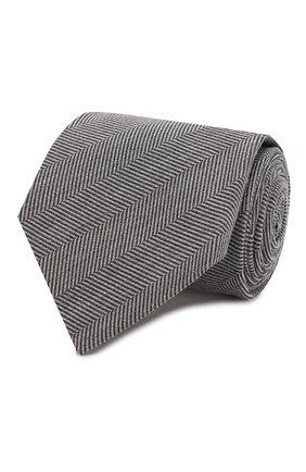 Мужской галстук из смеси шерсти и шелка TOM FORD черно-белого цвета, арт. 6TF54/XTF | Фото 1
