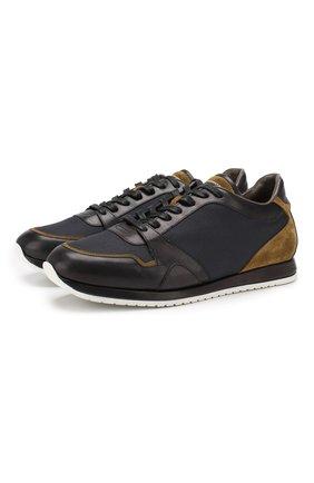 Мужские комбинированные кроссовки BRIONI синего цвета, арт. QHGL0L/08749 | Фото 1