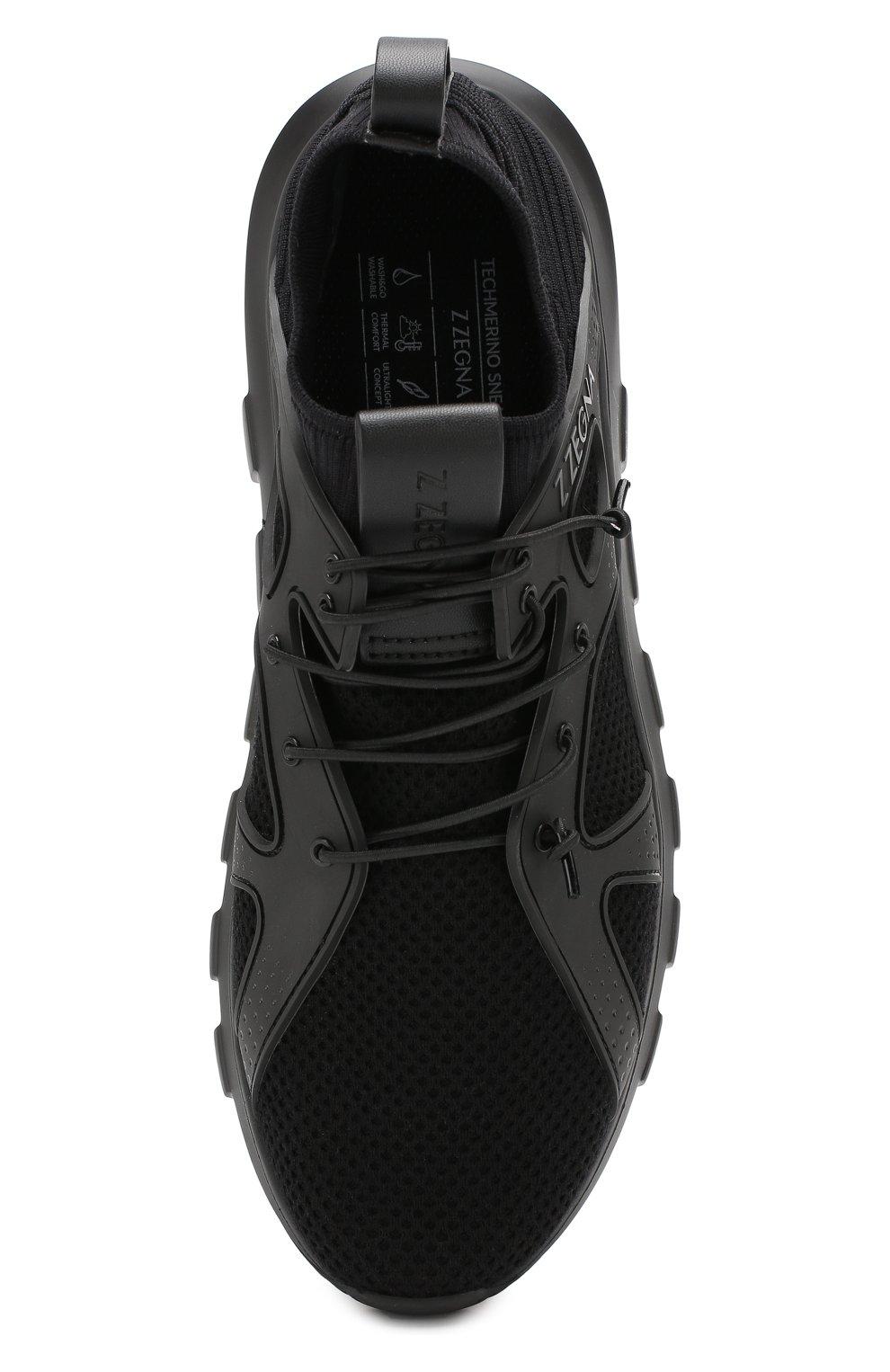Мужские текстильные кроссовки Z ZEGNA черного цвета, арт. A4300X-LHTPU | Фото 5