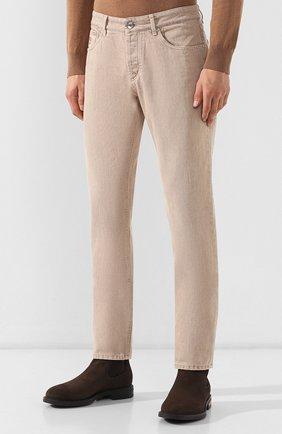 Мужские джинсы BRUNELLO CUCINELLI светло-бежевого цвета, арт. M051KB2210 | Фото 3
