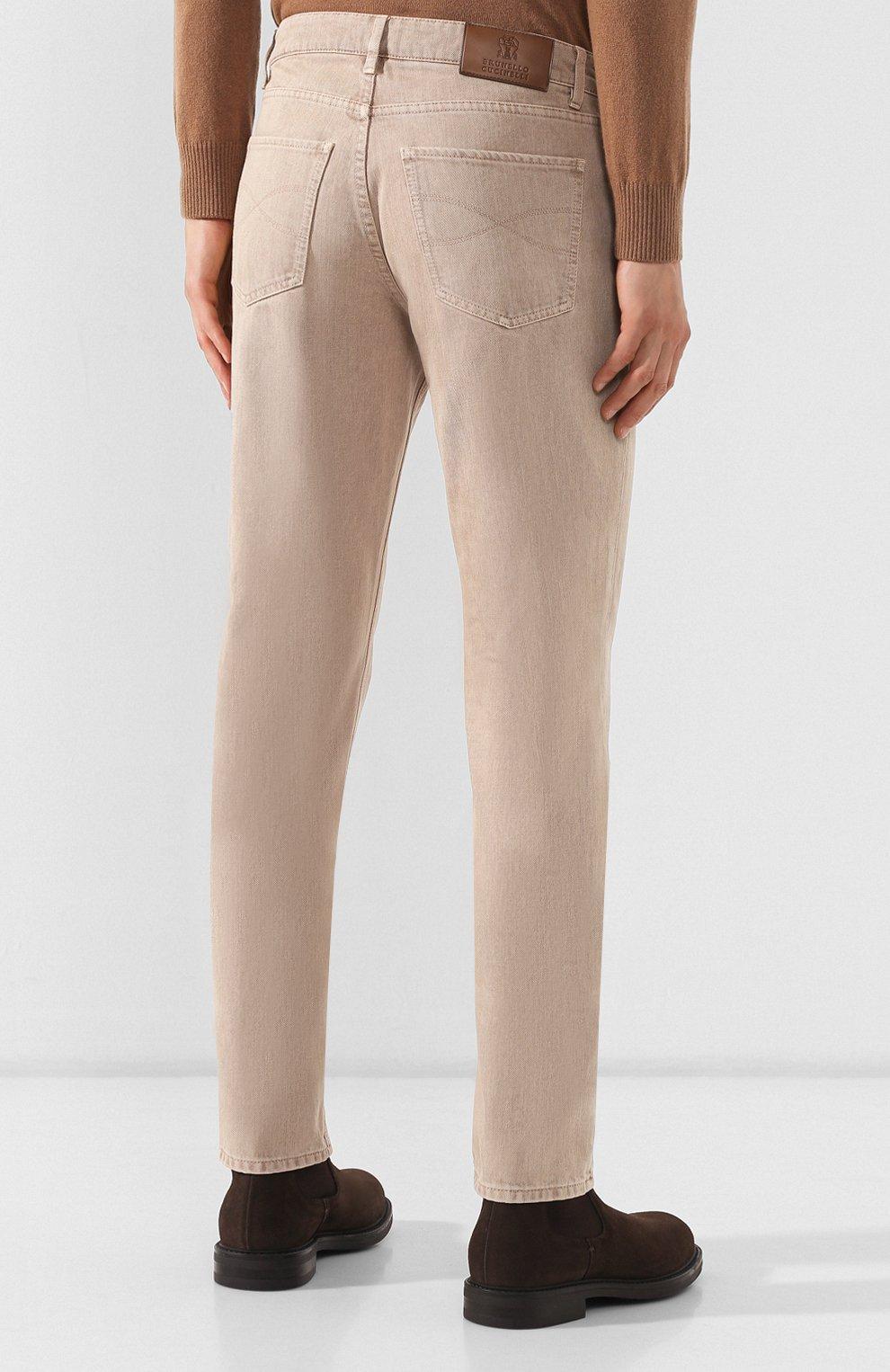 Мужские джинсы BRUNELLO CUCINELLI светло-бежевого цвета, арт. M051KB2210 | Фото 4