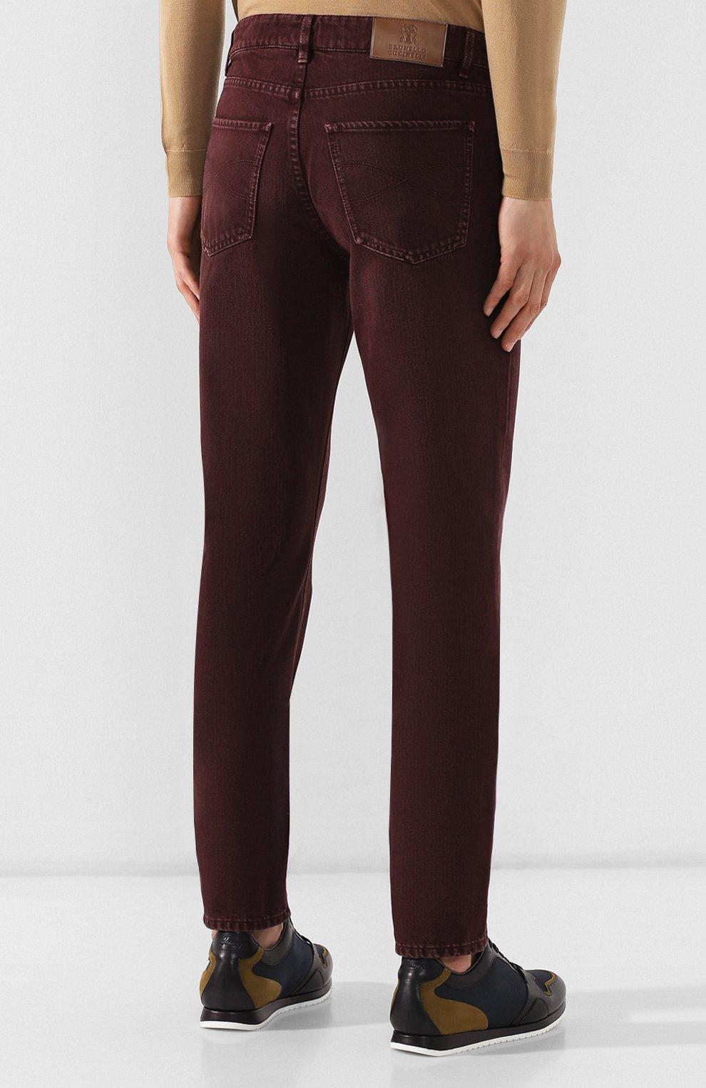 Мужские джинсы BRUNELLO CUCINELLI бордового цвета, арт. M051KB2210 | Фото 4