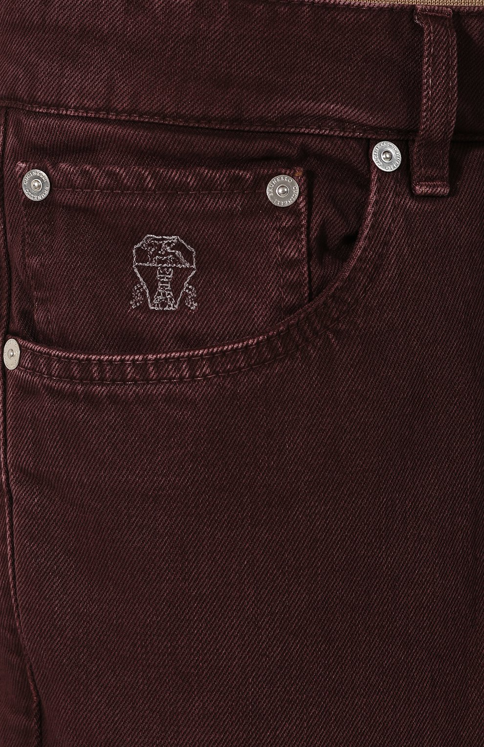 Мужские джинсы BRUNELLO CUCINELLI бордового цвета, арт. M051KB2210 | Фото 5