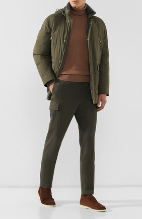Мужские брюки из смеси шерсти и хлопка BRUNELLO CUCINELLI хаки цвета, арт. ME241E1890 | Фото 2