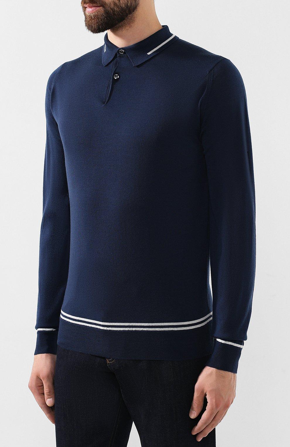 Мужское шерстяное поло JOHN SMEDLEY синего цвета, арт. TREEBY | Фото 3