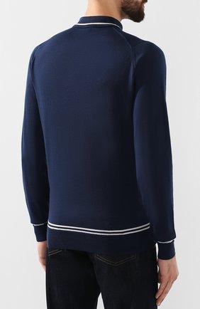 Мужское шерстяное поло JOHN SMEDLEY синего цвета, арт. TREEBY | Фото 4