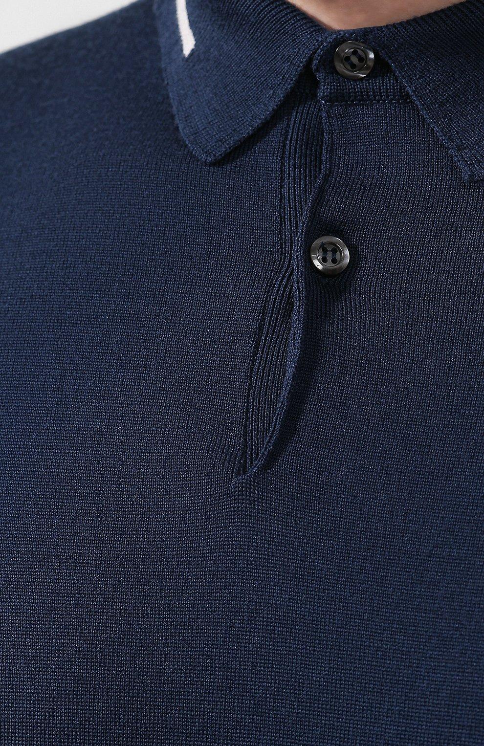 Мужское шерстяное поло JOHN SMEDLEY синего цвета, арт. TREEBY | Фото 5