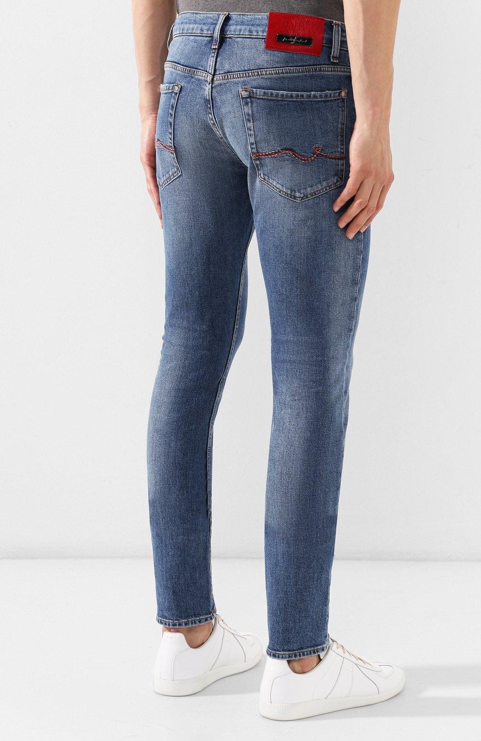 Мужские джинсы 7 FOR ALL MANKIND синего цвета, арт. JSD4L39RDH | Фото 4