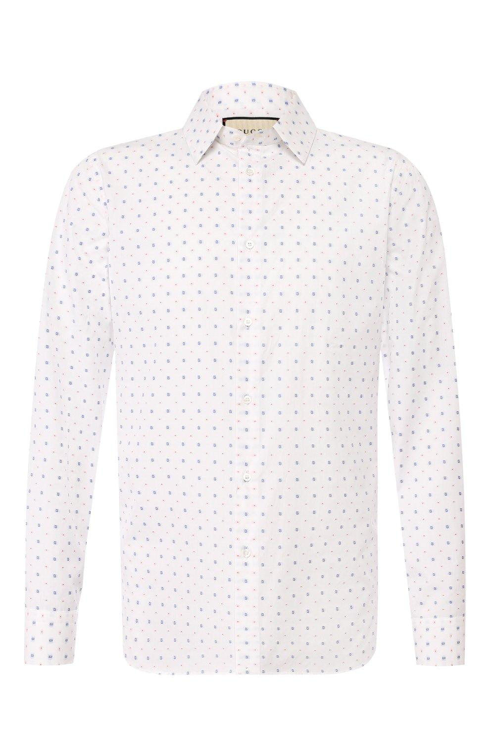 Мужская хлопковая рубашка GUCCI белого цвета, арт. 494722/ZAAES | Фото 1