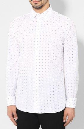 Мужская хлопковая рубашка GUCCI белого цвета, арт. 494722/ZAAES | Фото 3