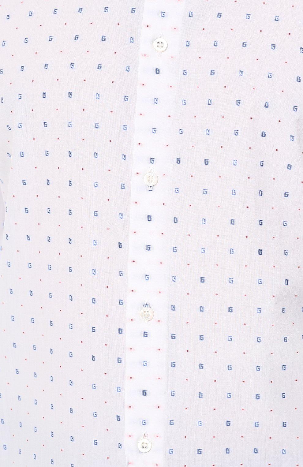 Мужская хлопковая рубашка GUCCI белого цвета, арт. 494722/ZAAES | Фото 5