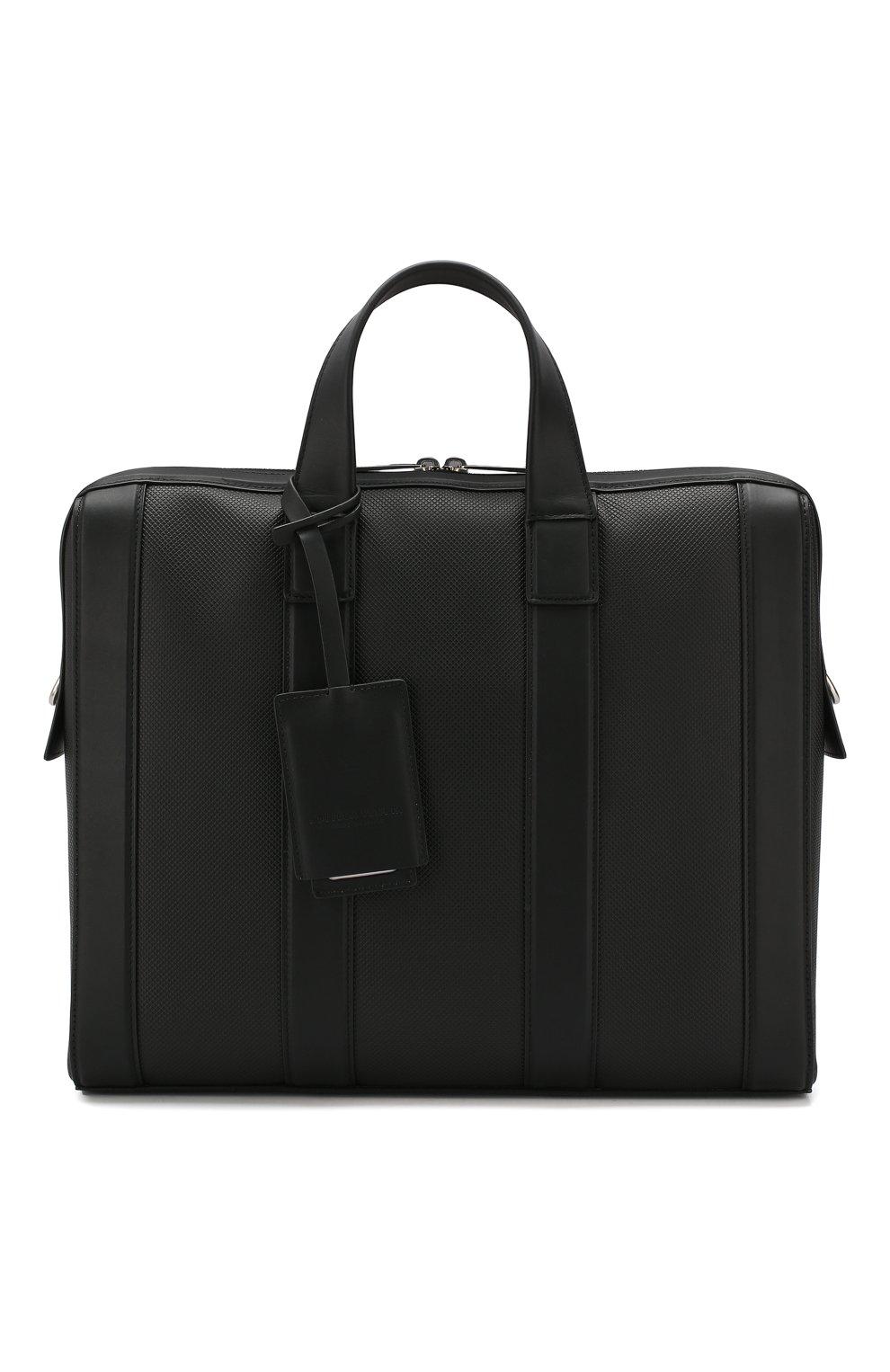 Мужской кожаный портфель BOTTEGA VENETA черного цвета, арт. 573484/VMAW1   Фото 1
