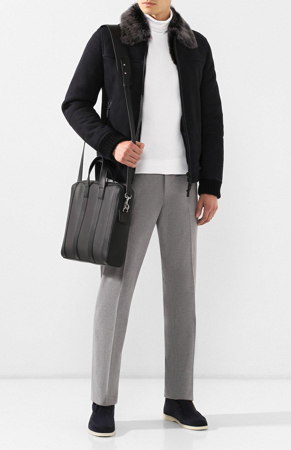 Мужской кожаный портфель BOTTEGA VENETA черного цвета, арт. 573484/VMAW1   Фото 2