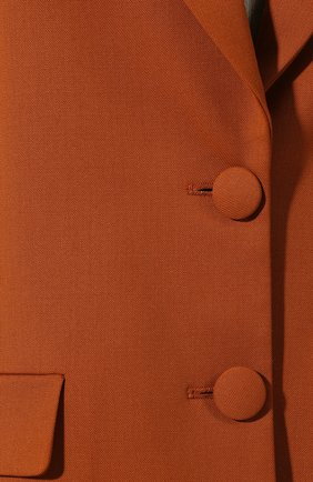 Шерстяной жакет Oscar de la Renta коричневый | Фото №5