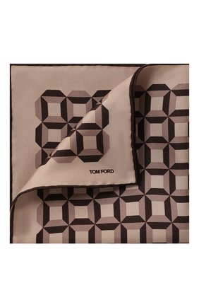 Мужской шелковый платок TOM FORD бежевого цвета, арт. 6TF101/TF312 | Фото 1