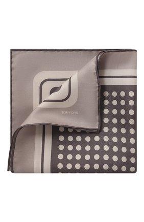 Мужской шелковый платок TOM FORD бежевого цвета, арт. 6TF97/TF312 | Фото 1