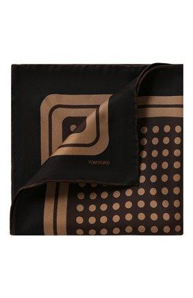 Мужской шелковый платок TOM FORD коричневого цвета, арт. 6TF97/TF312   Фото 1