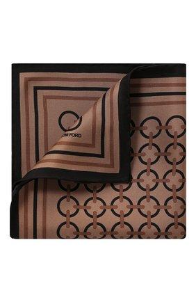 Мужской шелковый платок TOM FORD светло-коричневого цвета, арт. 6TF98/TF312   Фото 1