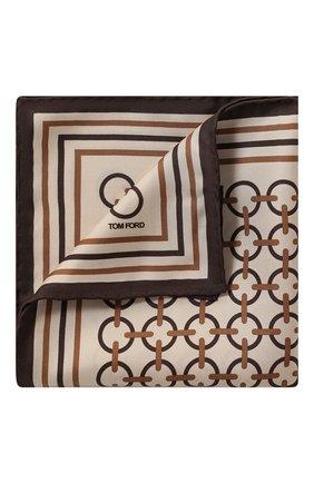 Мужской шелковый платок TOM FORD светло-бежевого цвета, арт. 6TF98/TF312 | Фото 1