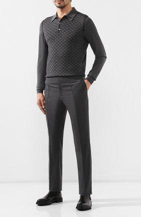Мужской брюки из смеси шерсти и кашемира BRIONI темно-серого цвета, арт. RPM10L/08AB3/SIDNEY | Фото 2