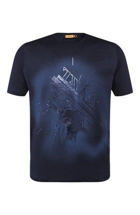 Мужская хлопковая футболка ZILLI темно-синего цвета, арт. MES-NT240-TRIU1/MC01 | Фото 1