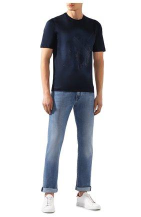 Мужская хлопковая футболка ZILLI темно-синего цвета, арт. MES-NT240-TRIU1/MC01 | Фото 2