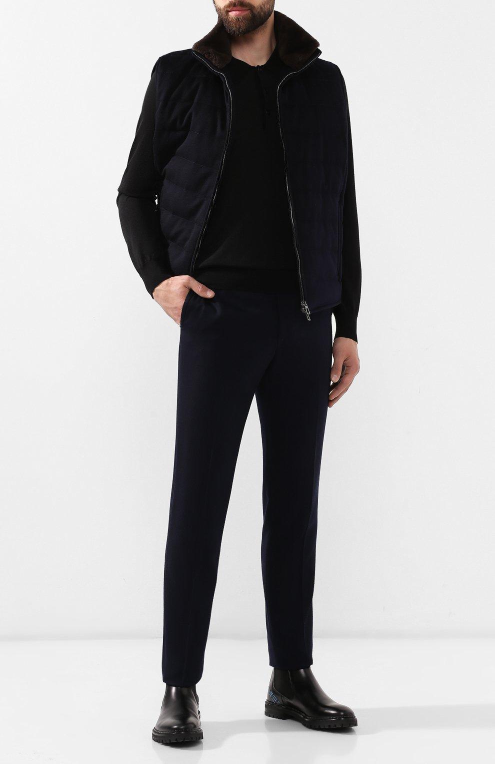 Мужское поло из смеси шерсти и шелка BRIONI черного цвета, арт. UMR30L/08K16   Фото 2