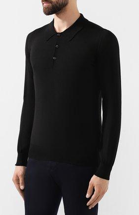 Мужское поло из смеси шерсти и шелка BRIONI черного цвета, арт. UMR30L/08K16   Фото 3