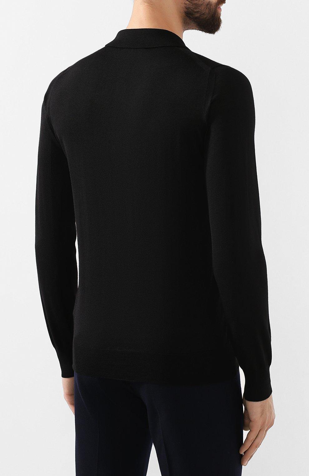 Мужское поло из смеси шерсти и шелка BRIONI черного цвета, арт. UMR30L/08K16   Фото 4