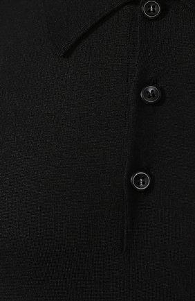 Мужское поло из смеси шерсти и шелка BRIONI черного цвета, арт. UMR30L/08K16   Фото 5