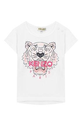 Детский хлопковая футболка KENZO белого цвета, арт. KP10248-BB | Фото 1