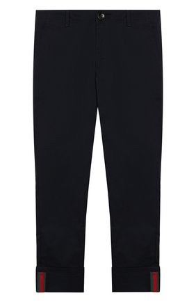 Детские хлопковые брюки GUCCI синего цвета, арт. 475447/XBB56 | Фото 1
