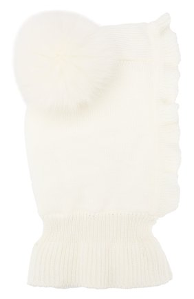 Детского шерстяная шапка-балаклава CATYA белого цвета, арт. 923608/P | Фото 1