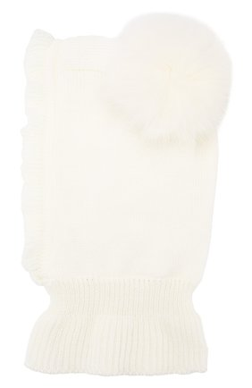 Детского шерстяная шапка-балаклава CATYA белого цвета, арт. 923608/P | Фото 2