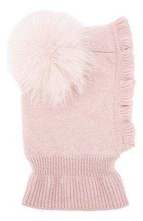 Детского шерстяная шапка-балаклава CATYA светло-розового цвета, арт. 923608/P | Фото 1