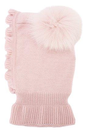 Детского шерстяная шапка-балаклава CATYA светло-розового цвета, арт. 923608/P | Фото 2